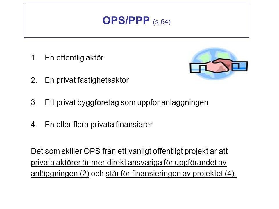 OPS/PPP (s.64) En offentlig aktör En privat fastighetsaktör