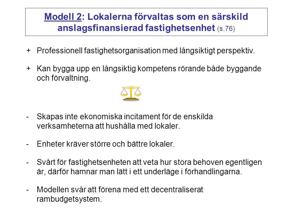 Modell 2: Lokalerna förvaltas som en särskild anslagsfinansierad fastighetsenhet (s.76)