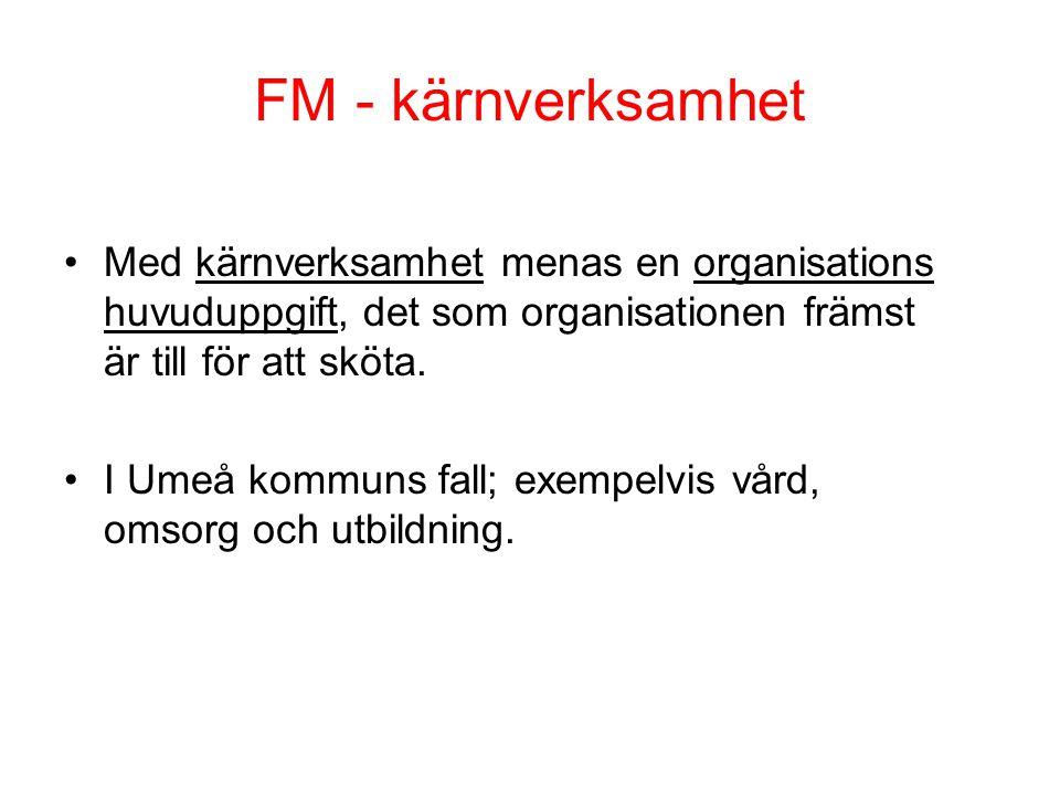 FM - kärnverksamhet Med kärnverksamhet menas en organisations huvuduppgift, det som organisationen främst är till för att sköta.