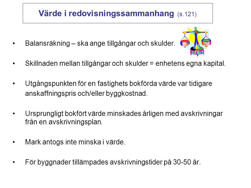 Värde i redovisningssammanhang (s.121)