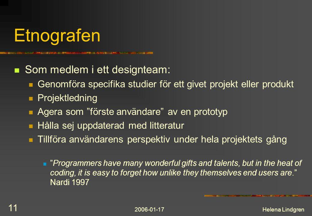 Etnografen Som medlem i ett designteam:
