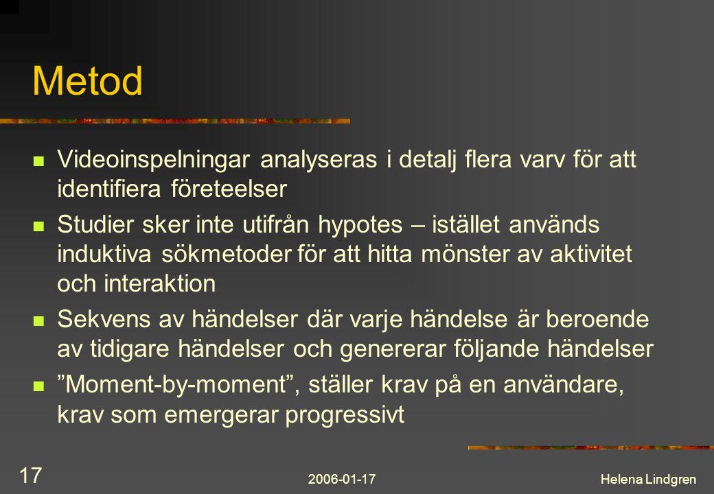 Metod Videoinspelningar analyseras i detalj flera varv för att identifiera företeelser.
