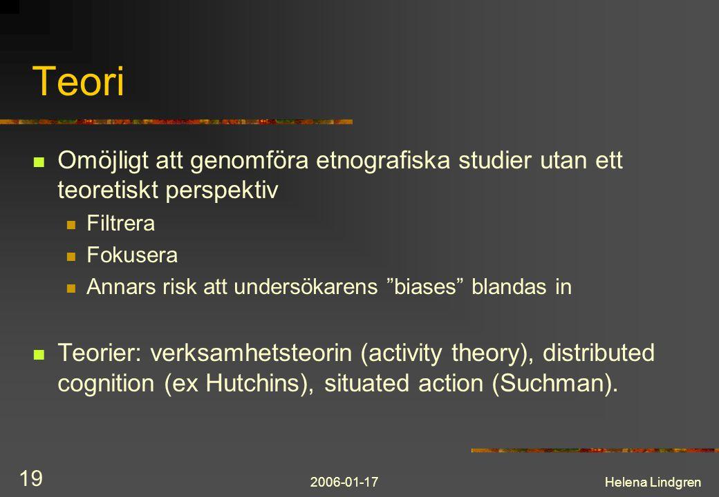Teori Omöjligt att genomföra etnografiska studier utan ett teoretiskt perspektiv. Filtrera. Fokusera.