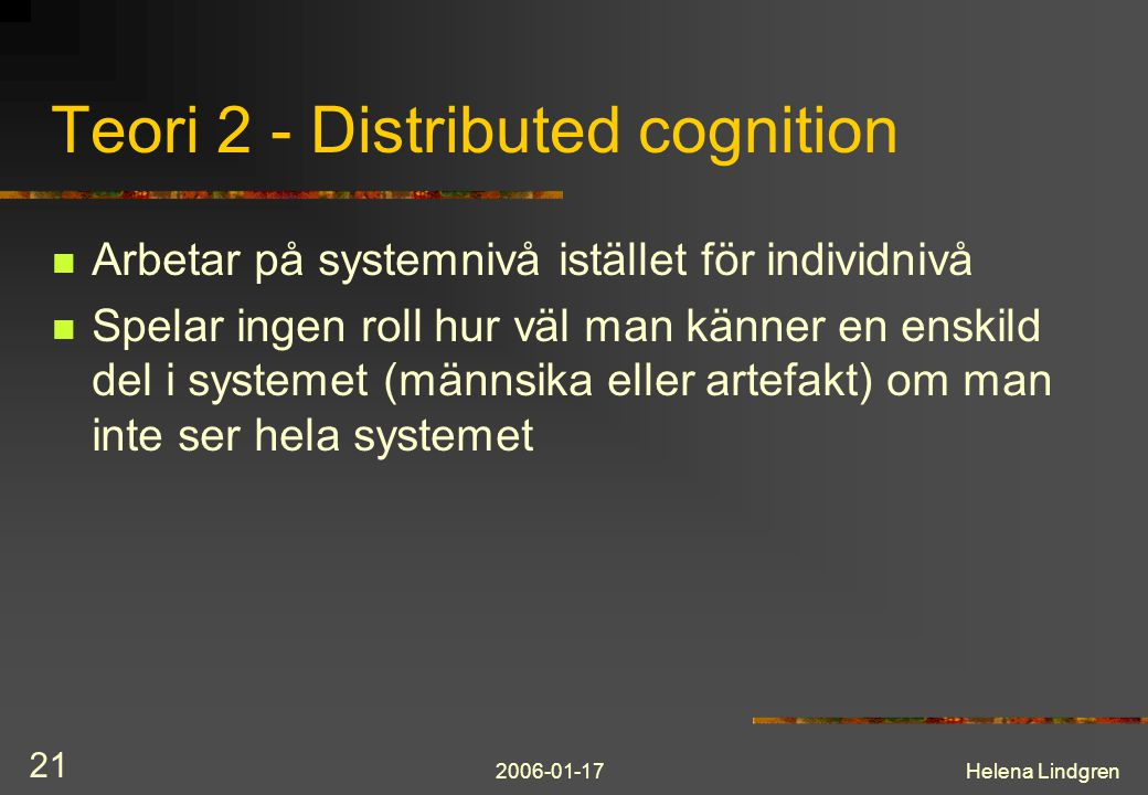 Teori 2 - Distributed cognition