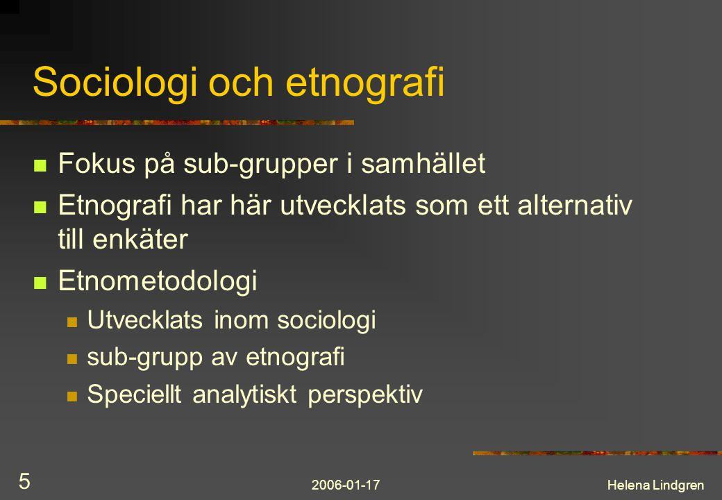 Sociologi och etnografi