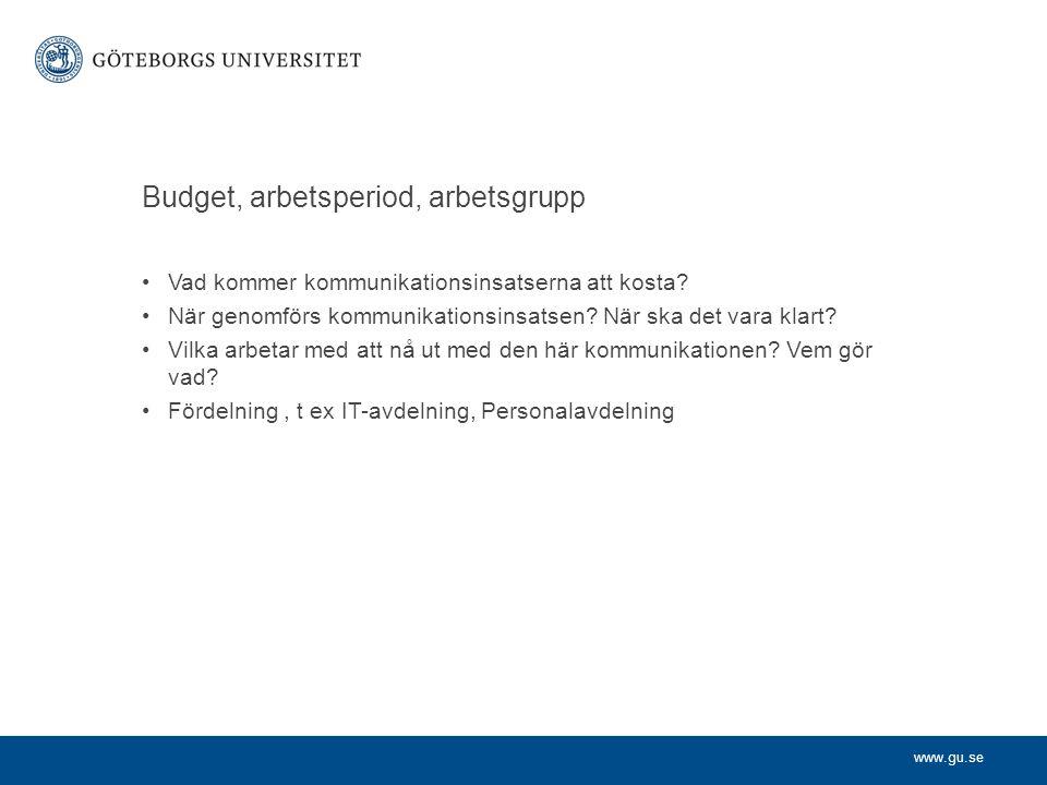 Budget, arbetsperiod, arbetsgrupp