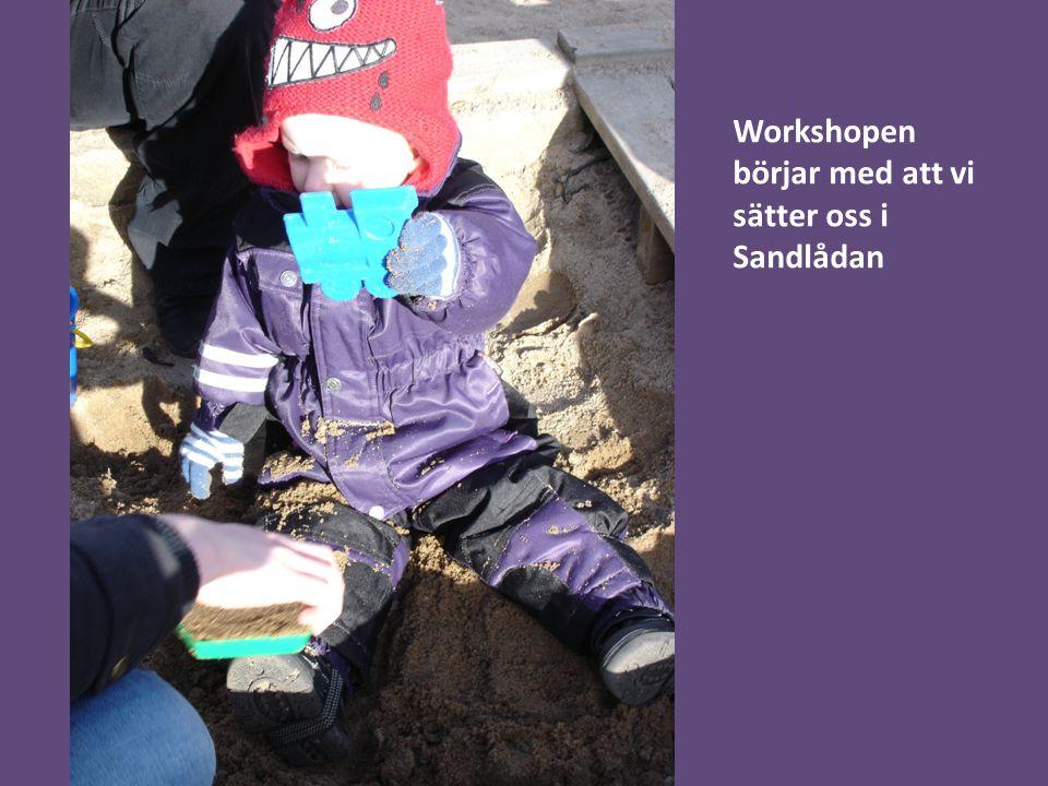 Workshopen börjar med att vi sätter oss i Sandlådan