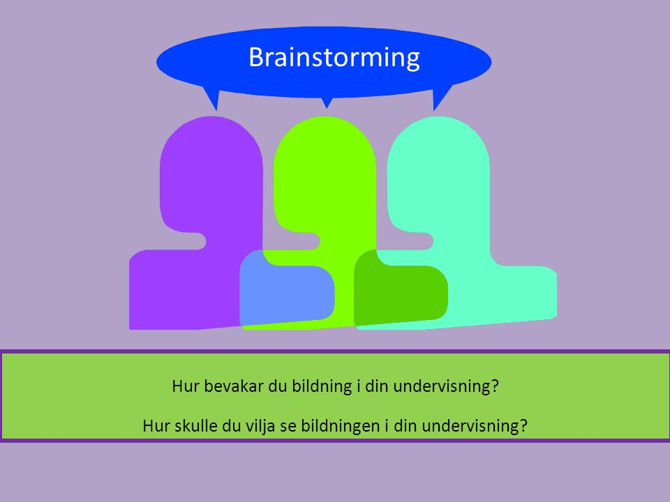 Brainstorming Hur bevakar du bildning i din undervisning.