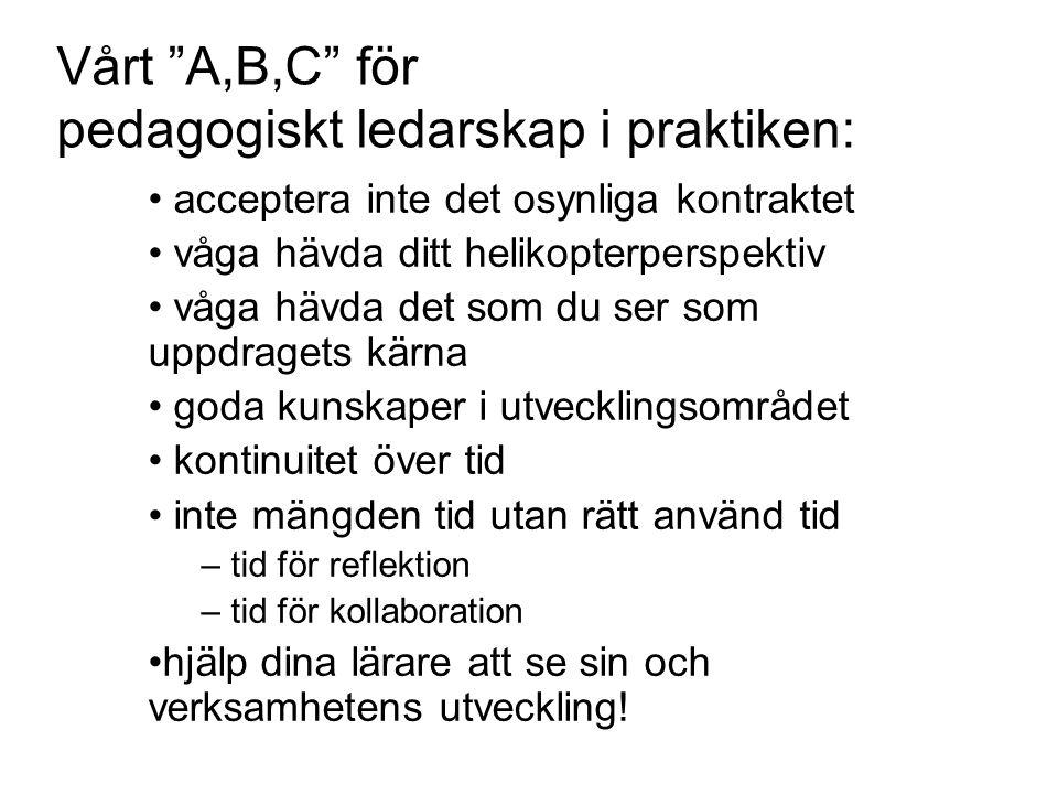 Vårt A,B,C för pedagogiskt ledarskap i praktiken: