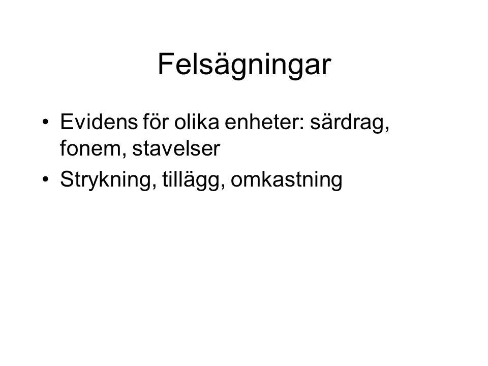 Felsägningar Evidens för olika enheter: särdrag, fonem, stavelser
