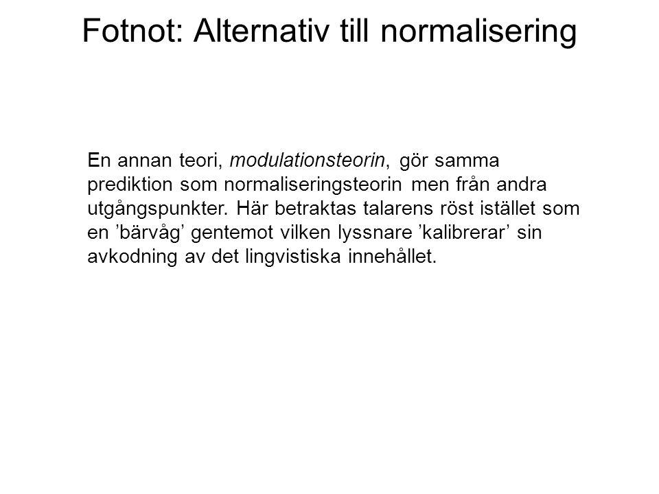 Fotnot: Alternativ till normalisering