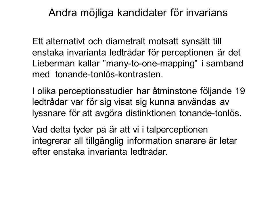 Andra möjliga kandidater för invarians