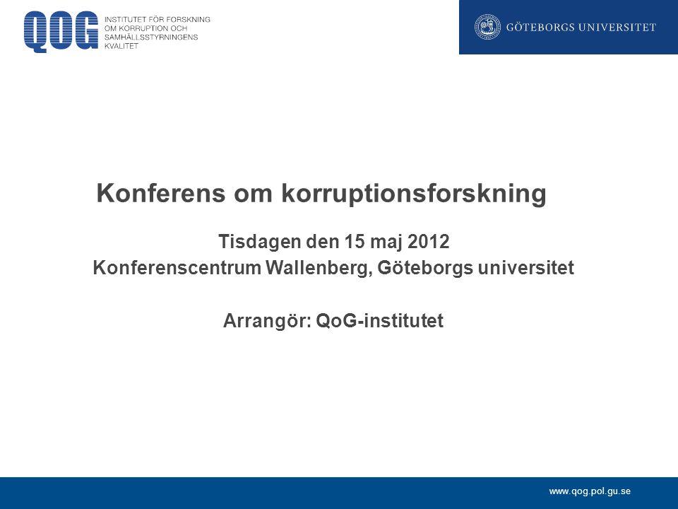 Konferens om korruptionsforskning