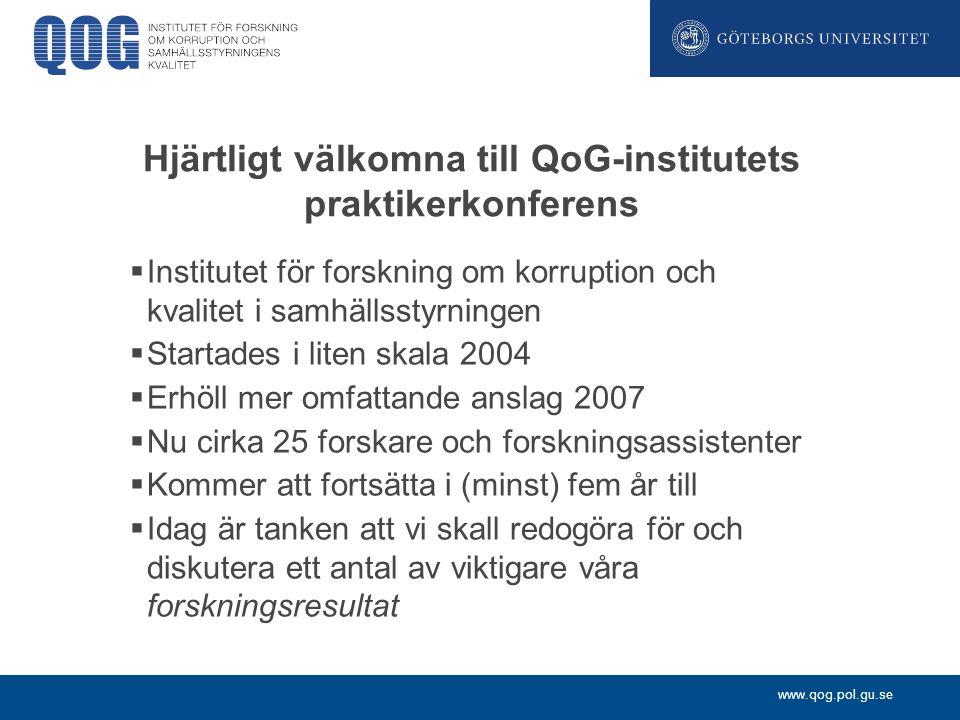 Hjärtligt välkomna till QoG-institutets praktikerkonferens