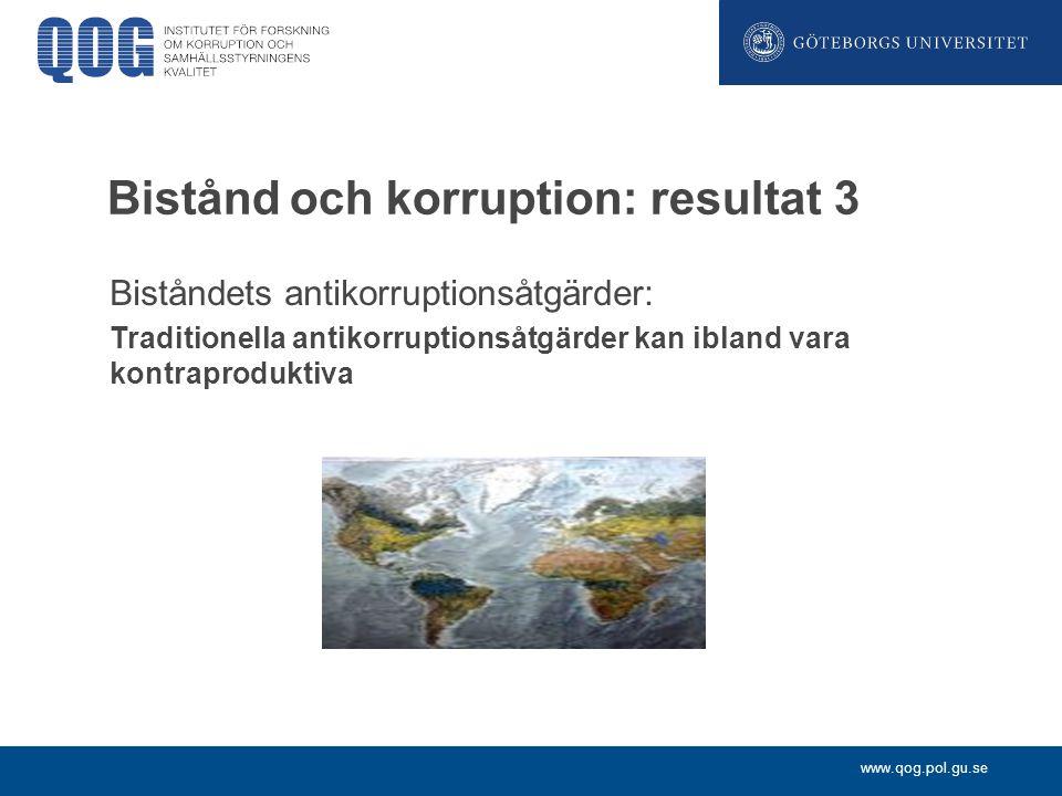 Bistånd och korruption: resultat 3