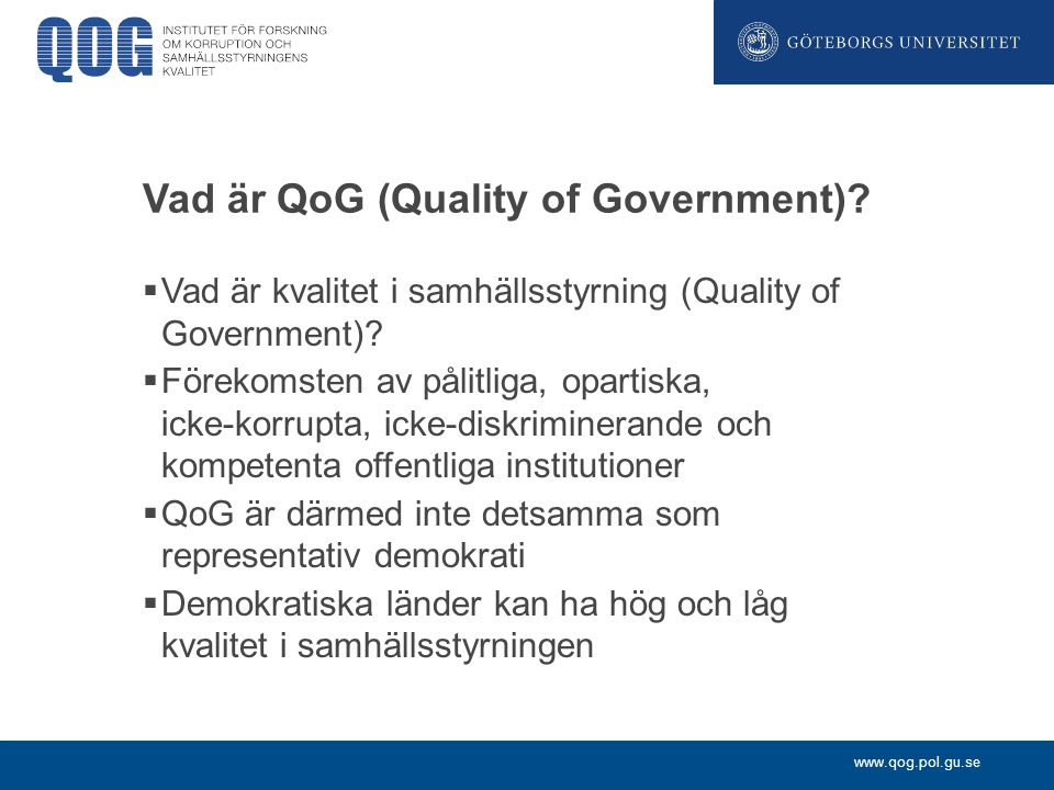 Vad är QoG (Quality of Government)