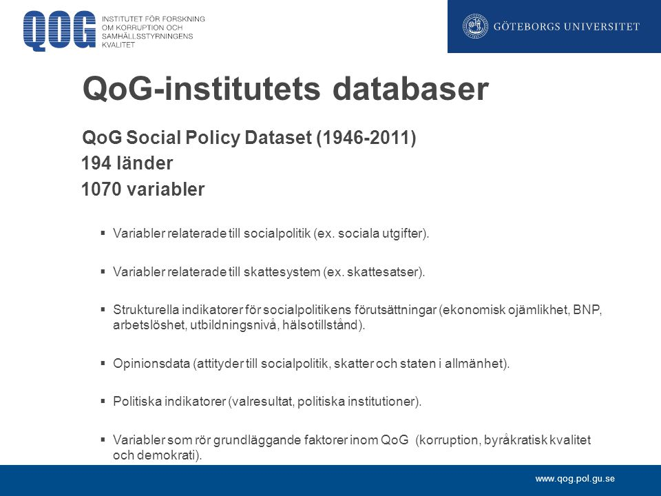 QoG-institutets databaser
