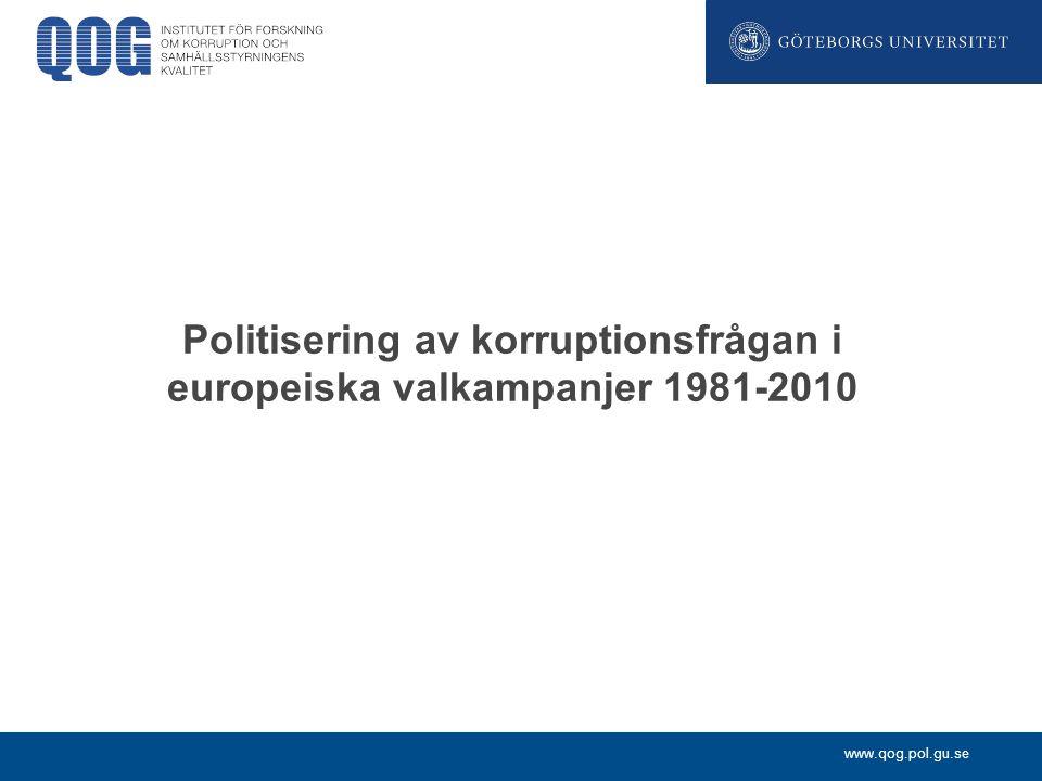Politisering av korruptionsfrågan i europeiska valkampanjer 1981-2010