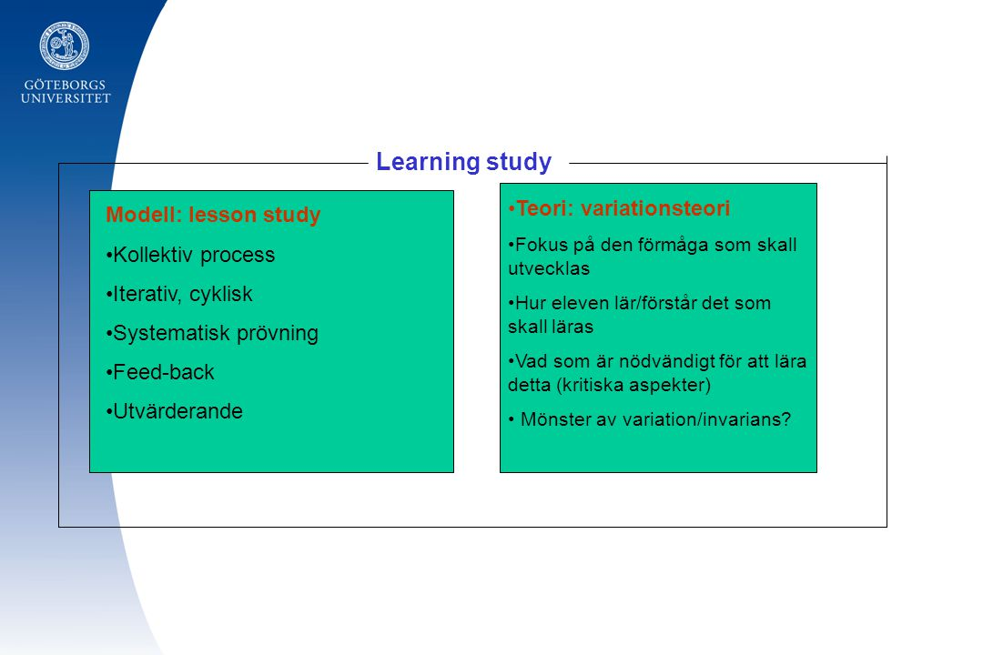 Learning study Teori: variationsteori Modell: lesson study