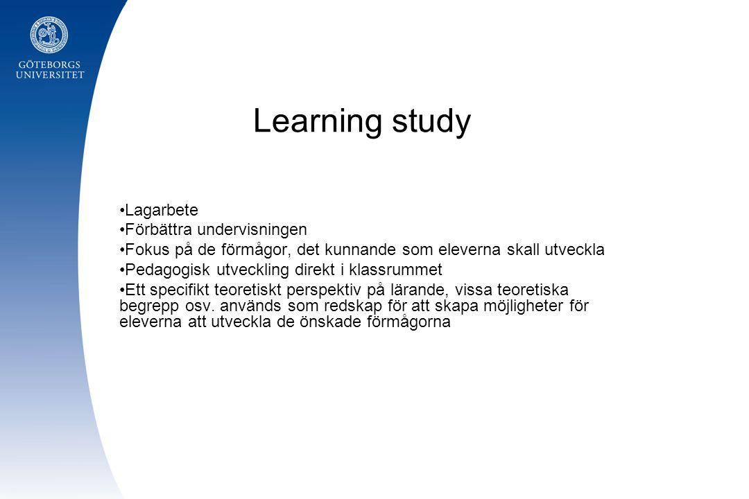 Learning study Lagarbete Förbättra undervisningen