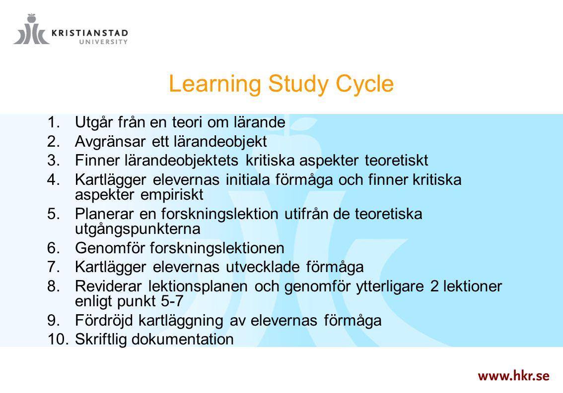 Learning Study Cycle Utgår från en teori om lärande