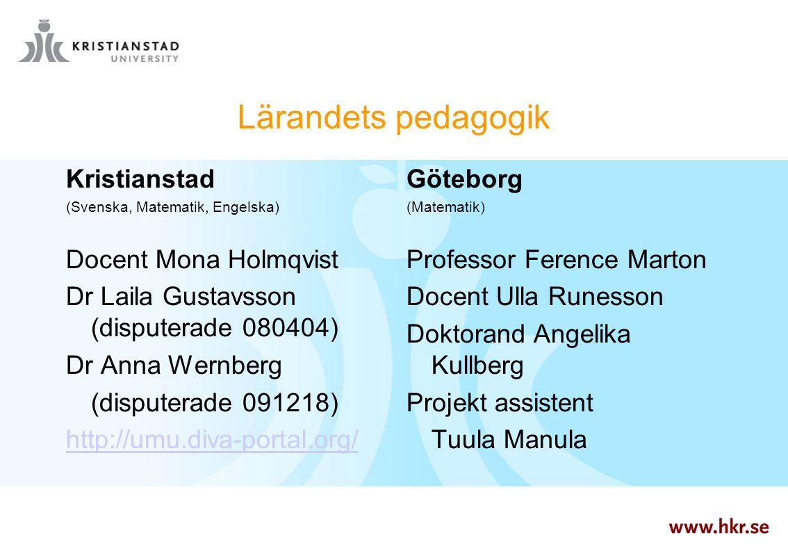 Lärandets pedagogik Kristianstad Docent Mona Holmqvist