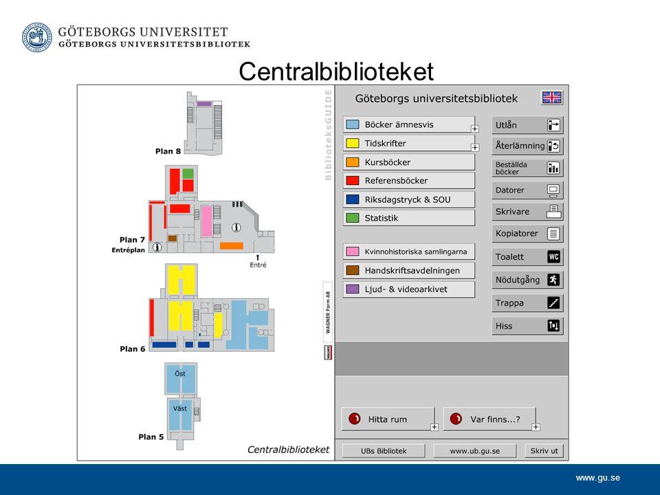 Centralbiblioteket 9 våningar. Plan 5-8 öppna för besökare. Plan 5