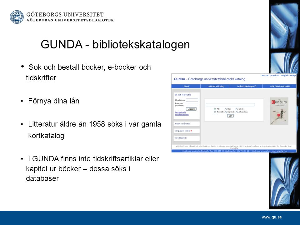 GUNDA - bibliotekskatalogen