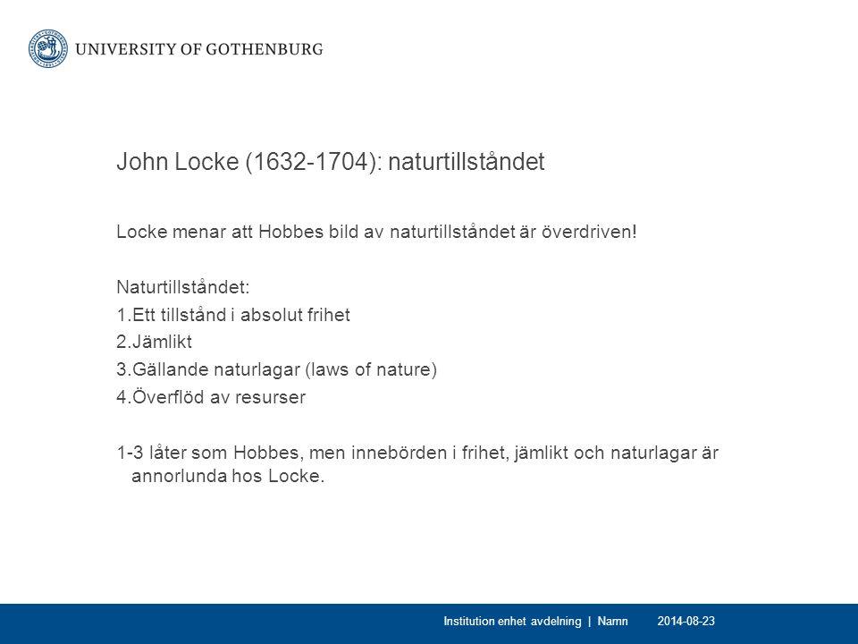 John Locke (1632-1704): naturtillståndet