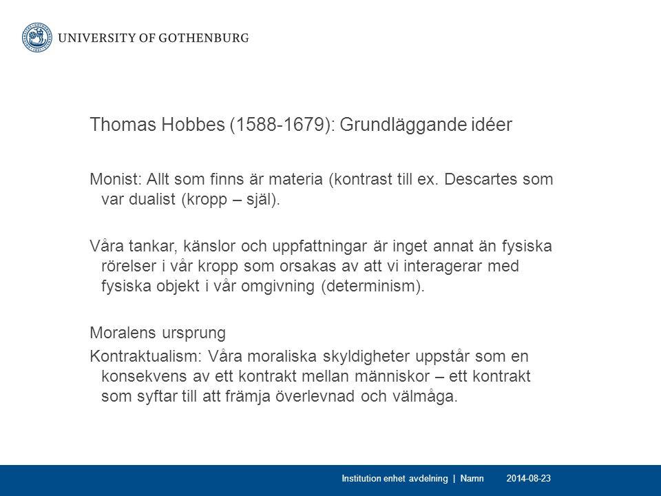 Thomas Hobbes (1588-1679): Grundläggande idéer
