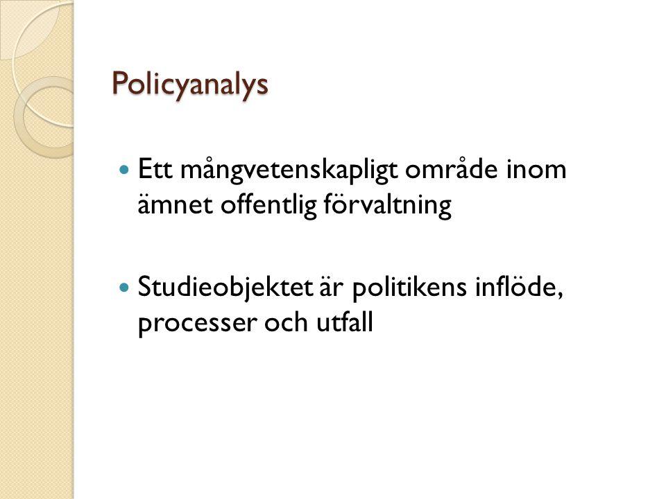 Policyanalys Ett mångvetenskapligt område inom ämnet offentlig förvaltning.