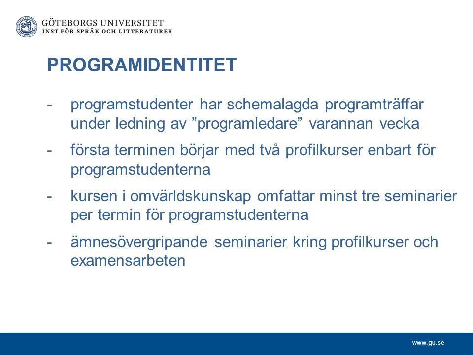 PROGRAMIDENTITET programstudenter har schemalagda programträffar under ledning av programledare varannan vecka.