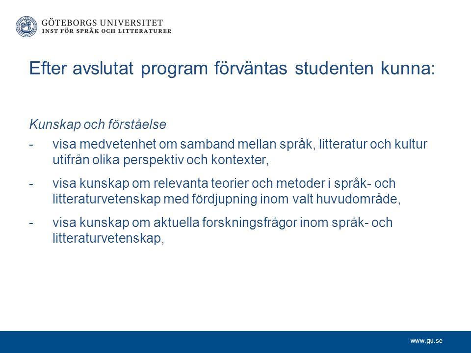 Efter avslutat program förväntas studenten kunna: