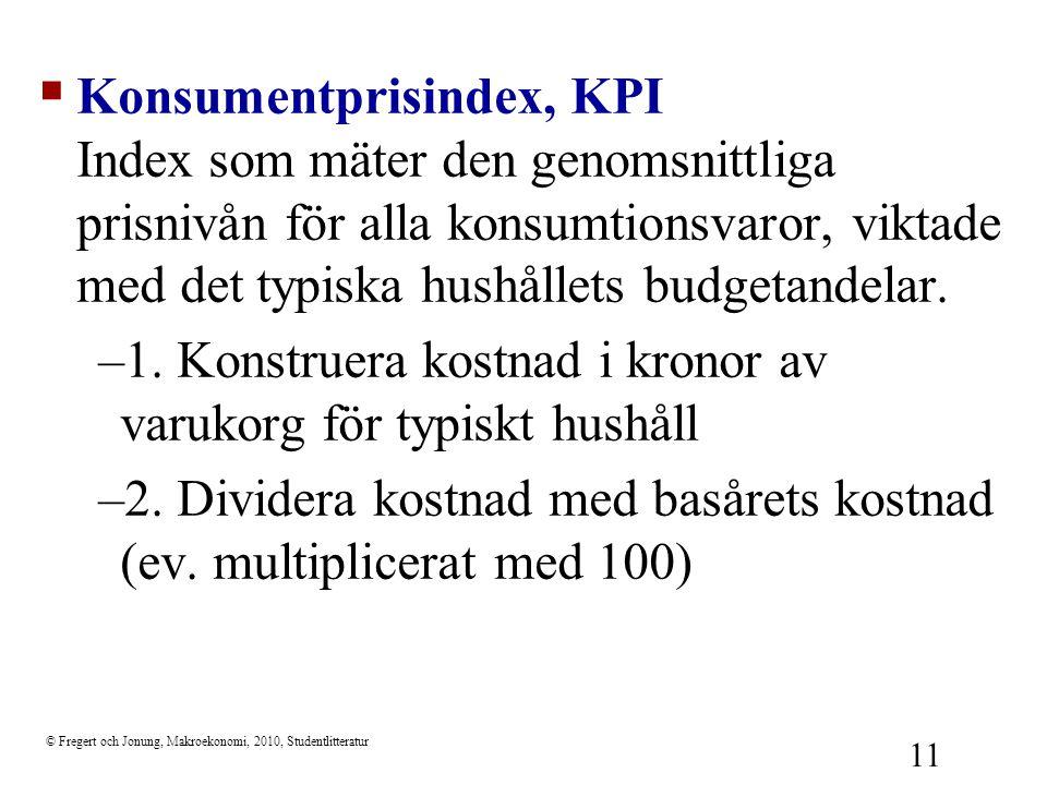 1. Konstruera kostnad i kronor av varukorg för typiskt hushåll