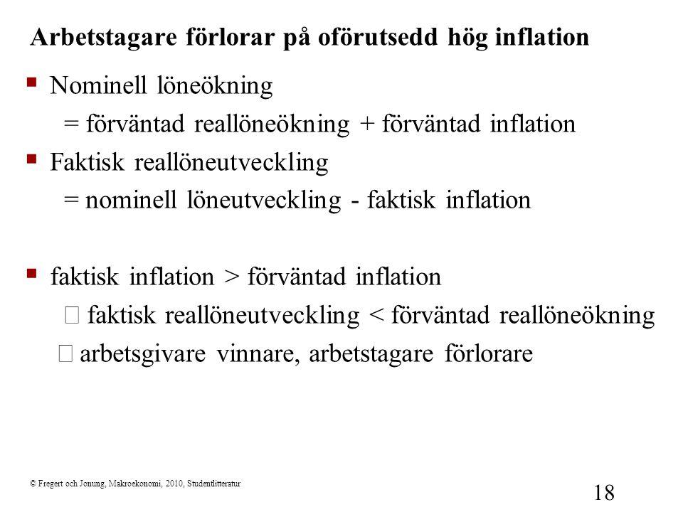 Arbetstagare förlorar på oförutsedd hög inflation