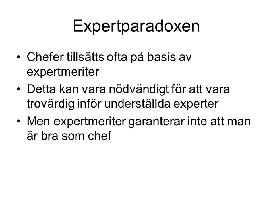 Expertparadoxen Chefer tillsätts ofta på basis av expertmeriter