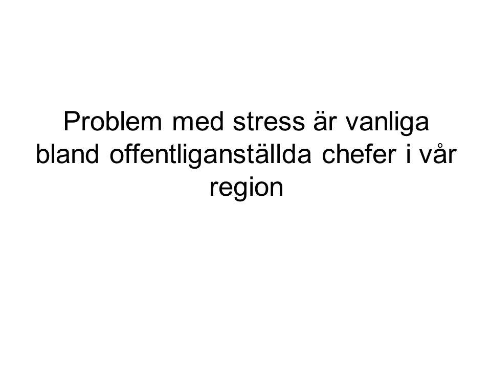 Problem med stress är vanliga bland offentliganställda chefer i vår region