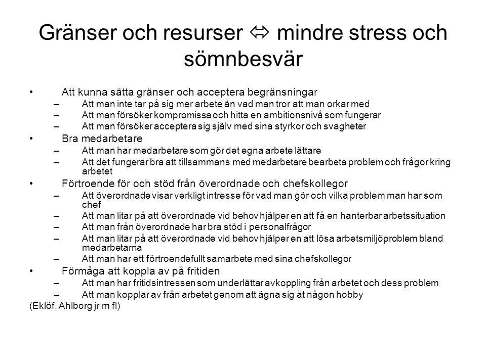 Gränser och resurser  mindre stress och sömnbesvär