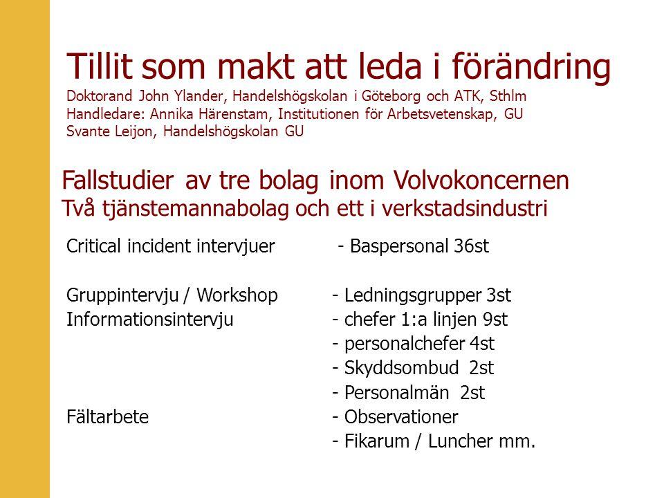 Tillit som makt att leda i förändring Doktorand John Ylander, Handelshögskolan i Göteborg och ATK, Sthlm Handledare: Annika Härenstam, Institutionen för Arbetsvetenskap, GU Svante Leijon, Handelshögskolan GU