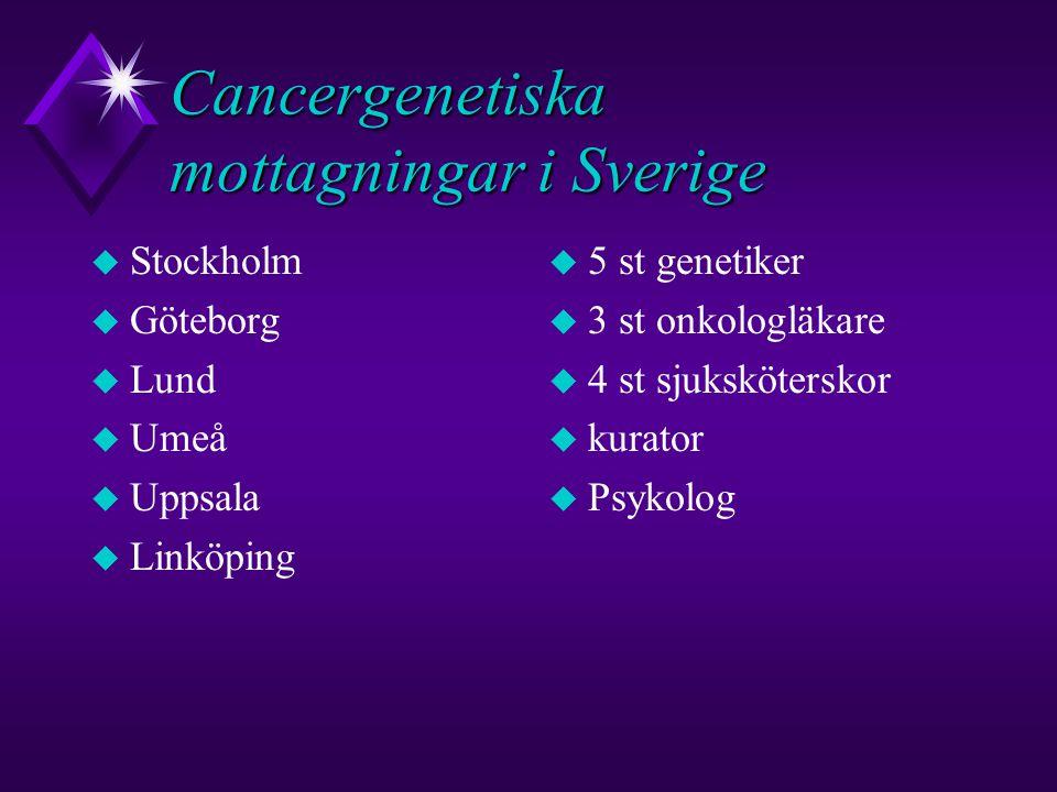 Cancergenetiska mottagningar i Sverige