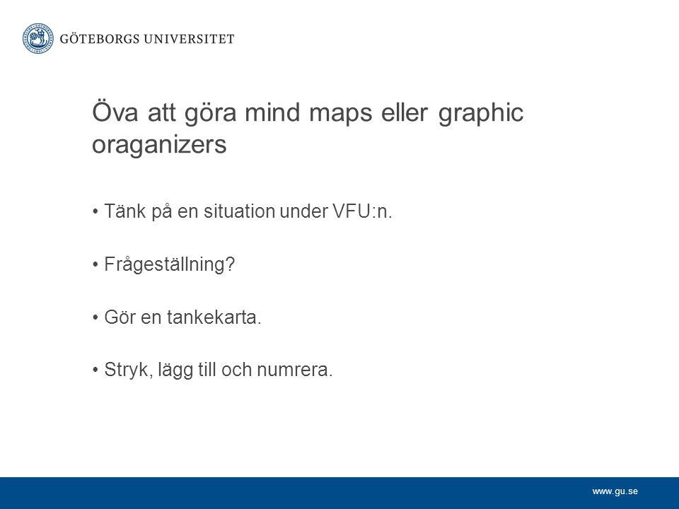 Öva att göra mind maps eller graphic oraganizers