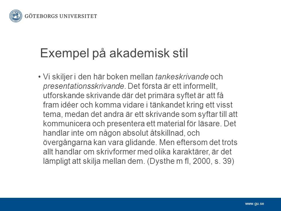 Exempel på akademisk stil