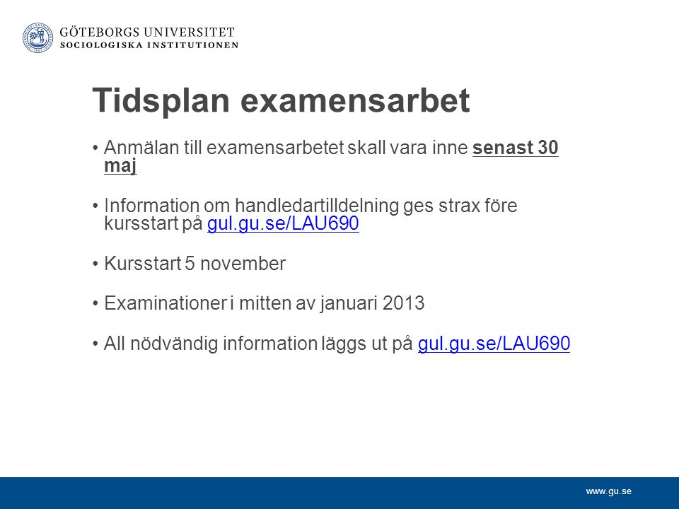 Tidsplan examensarbet