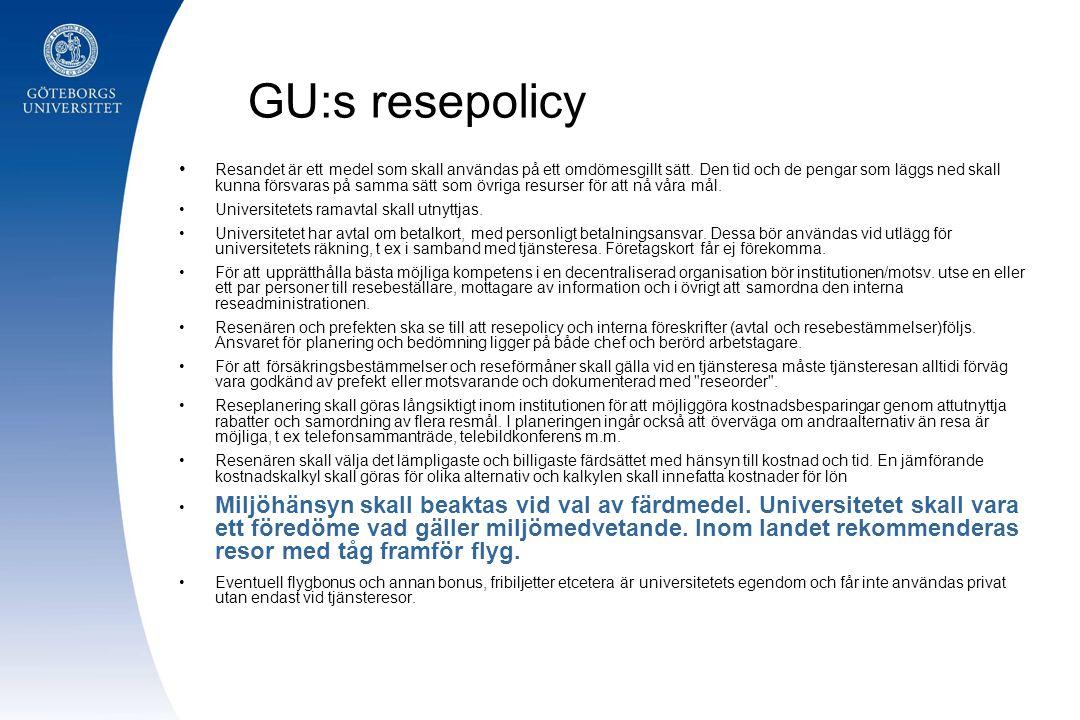 GU:s resepolicy