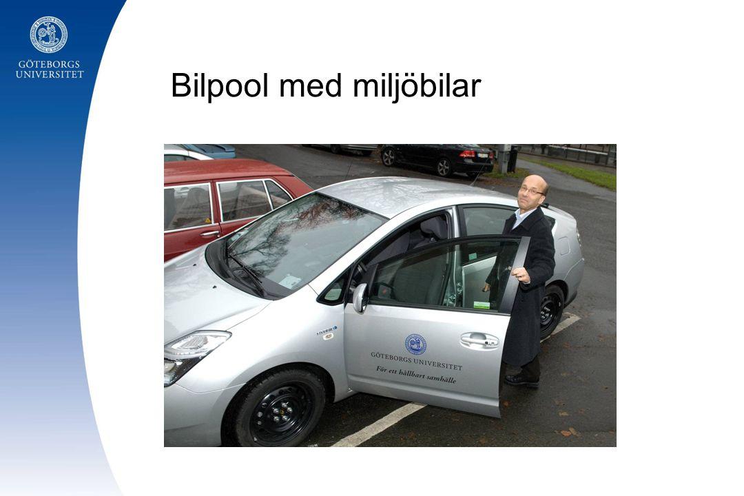 Bilpool med miljöbilar