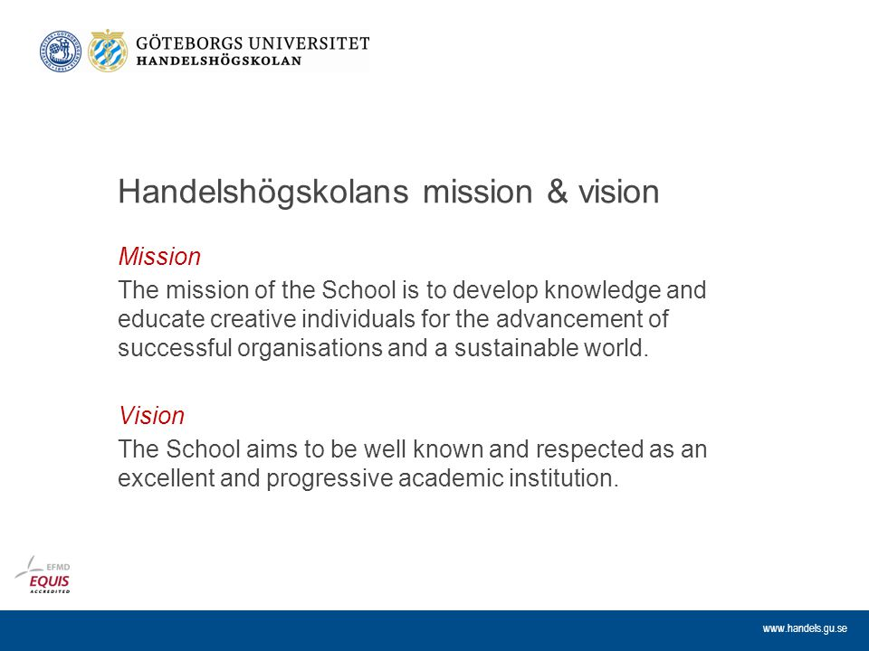 Handelshögskolans mission & vision