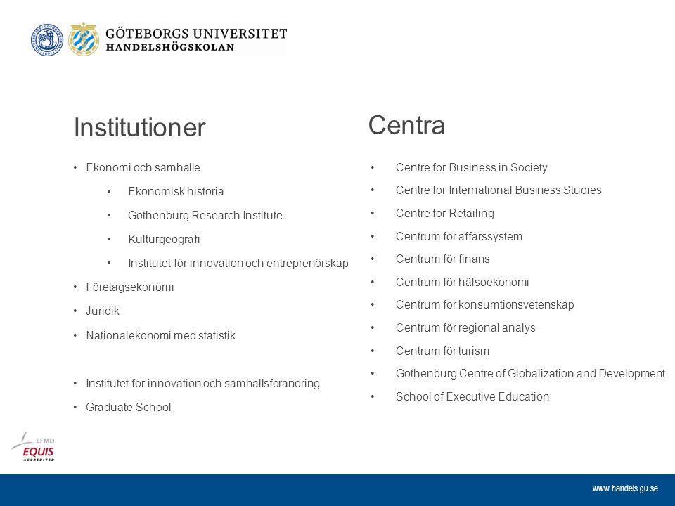 Institutioner Centra Ekonomi och samhälle Ekonomisk historia