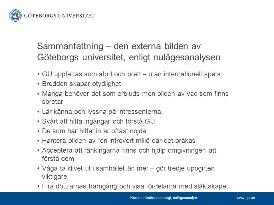 Sammanfattning – den externa bilden av Göteborgs universitet, enligt nulägesanalysen