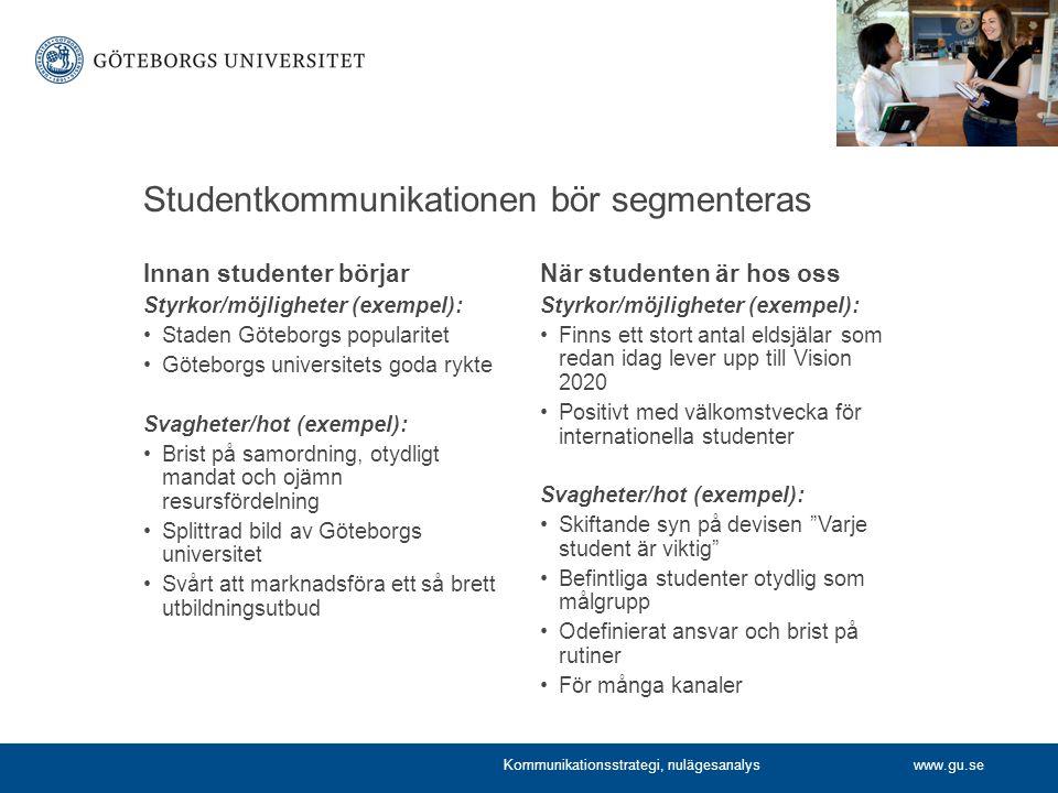 Studentkommunikationen bör segmenteras