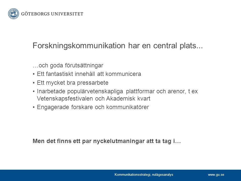 Forskningskommunikation har en central plats...